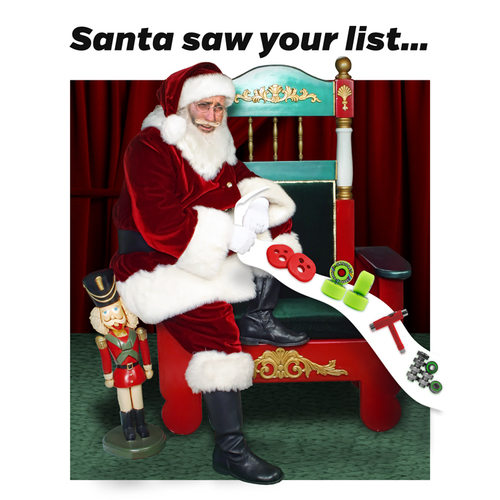 MuirSkate Longboard Shop Christmas Holiday Gift Card Certificate 2016 — Santa Saw Your List…