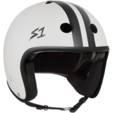 S-One Retro Lifer Helmet - White Matte w/ Black Stripes