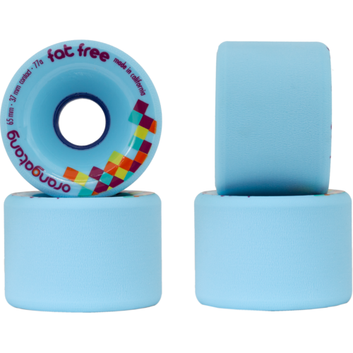 65mm Orangatang Fat Free - Freeride 77a Blue Longboard Skateboard Wheels
