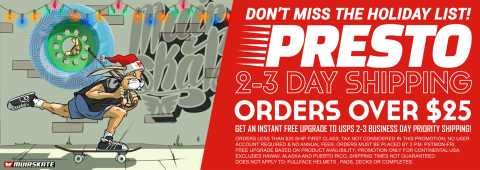 "Free Upgrade to 2-3 Holiday Day ""PRESTO"" Shipping"
